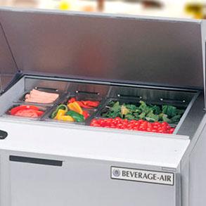 Mesas frías para barras de ensalada, bocaterías, pizzerías