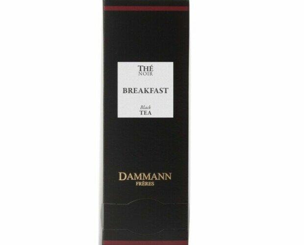 Té negro Dammann. Su composición es una mezcla de pequeñas hojas de té procedentes de Ceylon e India.