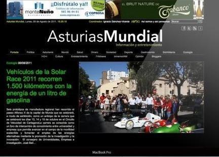Diseño Web. Esta es la página que diseñamos para Asturias Mundial