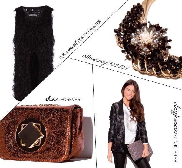 Partes y accesorios para ropa de mujer. Pieles, camafeos y bolsos