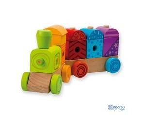 Juguetes Clásicos.Tren de madera con luz y sonido.