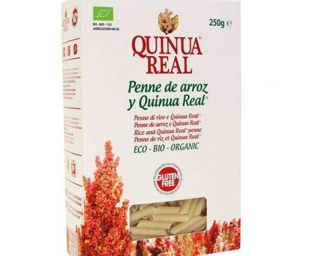 Macarrones de arroz y quinoa. Con un 25% de quinoa boliviana BIO, sin glúten, sin lactosa, sin huevo