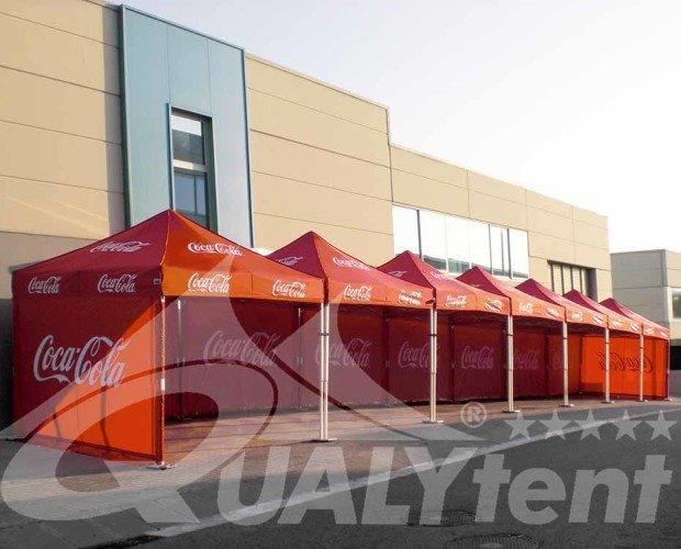 Carpa plegable QT. Carpas QT S-45 3x3, personalizadas Coca-Cola.