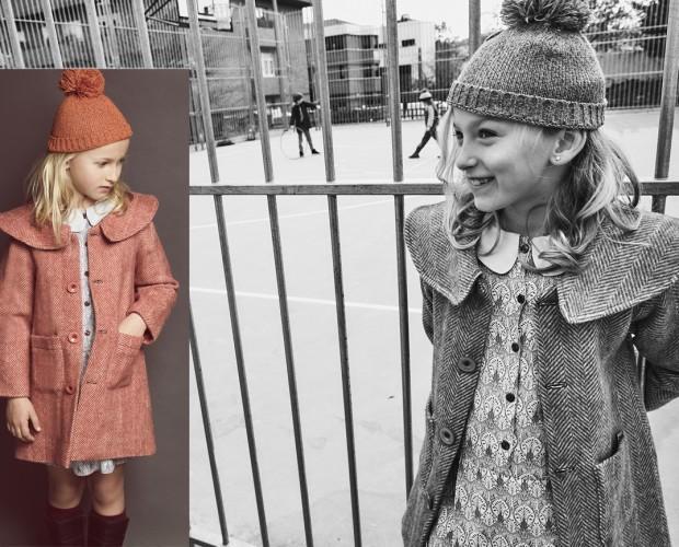 Abrigo niña 2017. Abrigo de paño de lana 100% con cuello bajo