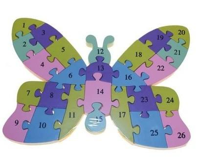 Puzzle Mariposa. Las piezas contienen números