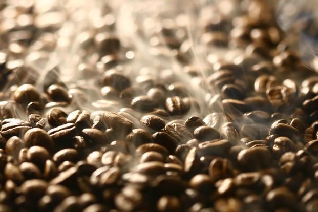 Café tostado. Tostado del café