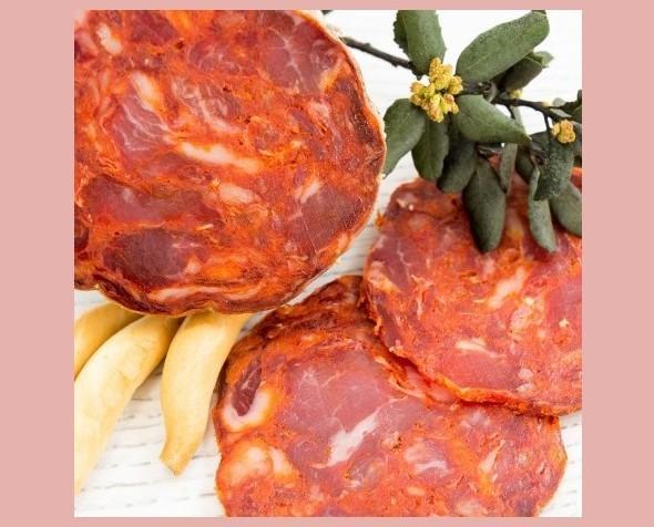 Morcón Ibérico bellota. Picado de carne grueso y embutido en tripa de cerdo natural