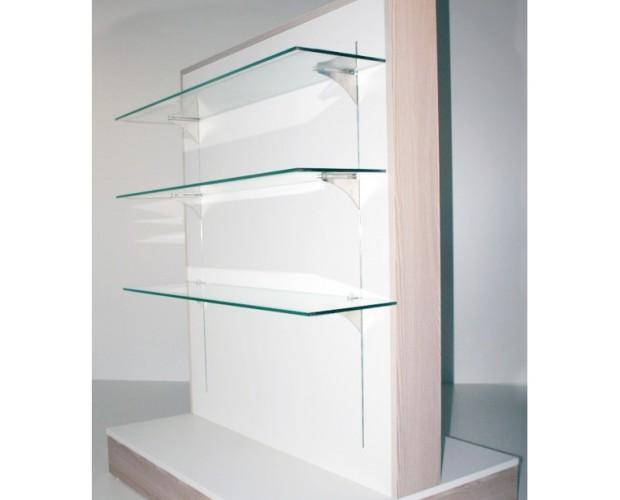 Muebles para Oficinas.Góndola de 120x150x70 con tres estantes de cristal a cada lado.Fabricado en melamina.