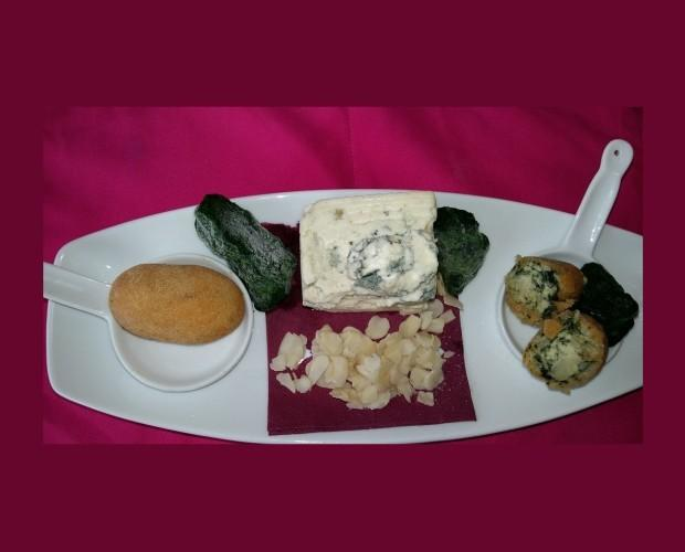 Espinacas con roquef. Croquetas de espinacas con roquefort y almendras