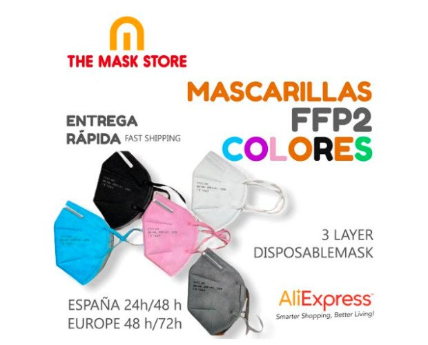 Mascarilla FFP2 de colores. Excelente calidad