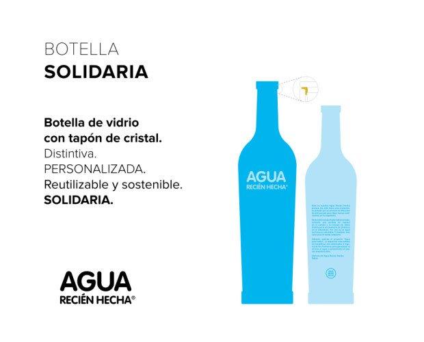 Botella solidaria. Con tapón de cristal