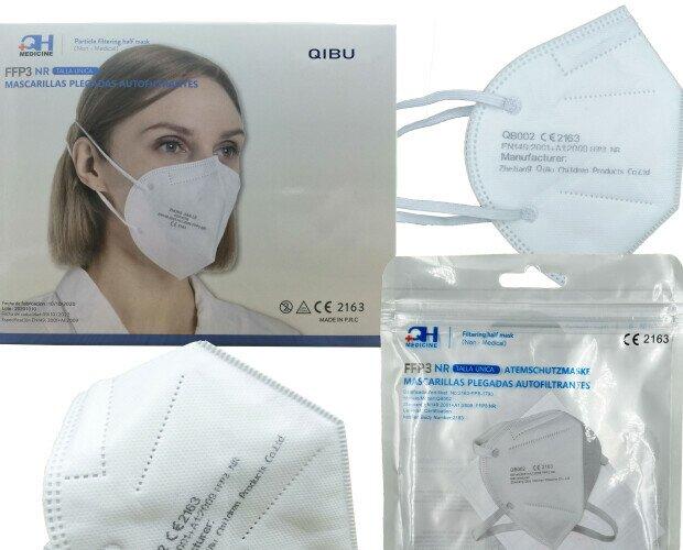 Mascarilla FFP3. Mascarilla FFP3 NR marca QIBU disponible en color blanco. Con certificado CE
