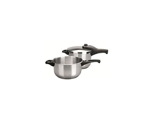 Set de ollas de presión. Producto válido para cocinas de gas, eléctrica, vitrocerámica y de inducción