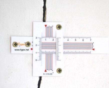 Herramientas para la Construcción.Fisurómetro recto/angular 2 direcciones