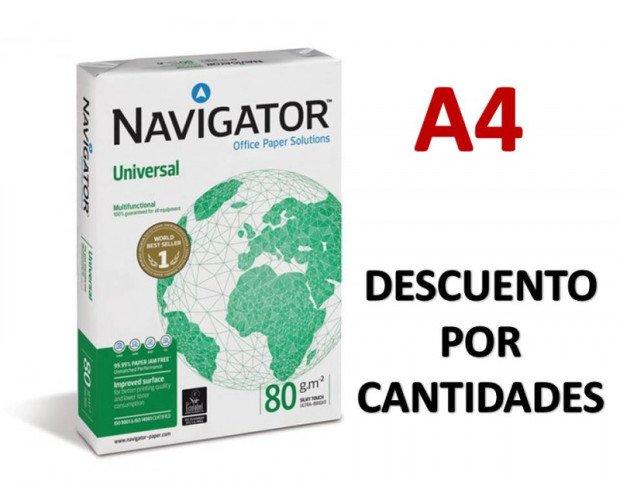 Papel A4 Navigator. Presentación en cajas de 5 paquetes.