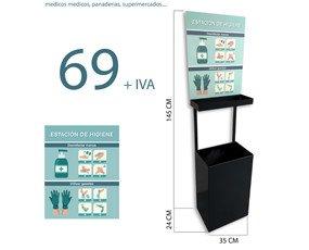Estación de Higiene. Fabricada en metal, muy resistente y de fácil desinfección. Incluye: Cartel de recomendaciones, soporte superior y papelera.