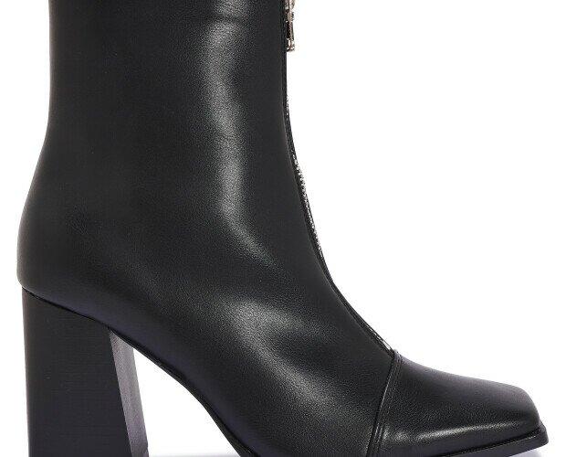 Botines de tacón. Botines de tacón de piel. Color negro.
