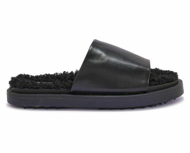 Sandalias de piel. Sandalias de piel y algodón. Color negro.