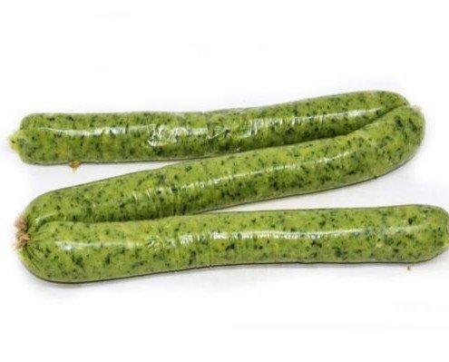 Salchicha Vegetal de Espinacas. La combinación de garbanzos y espinacas aporta un toque dulce al paladar