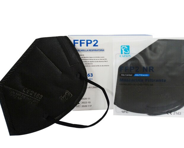 Mascarilla FFP2 Negra. A partir de 1000 unidades a 0,52€/ud. Se venden en cajas de 20 unidades.