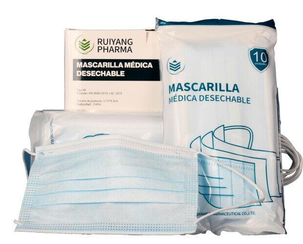 Mascarilla Quirúrgica tipo IIR. Talla adulto. A partir de 1000 unidades 0,12€/ud. Se venden en cajas de 50 unidad