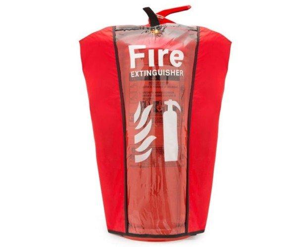 Funda para extintores. Funda para proteger extintores portátiles contra incendios.