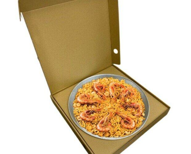 Caja para Paella. Pensados para servir paellas a domicilio y take away