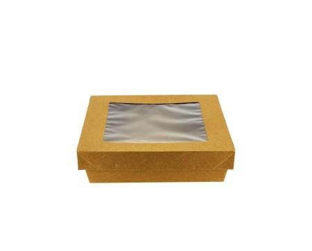 Envase de cartón kraft cuadrado. Envase de cartón para alimentos ideal para comida take away