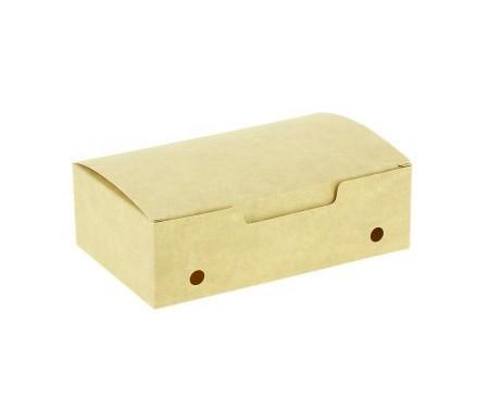 Caja para fritos. Contiene perforaciones que permiten su transpiración.
