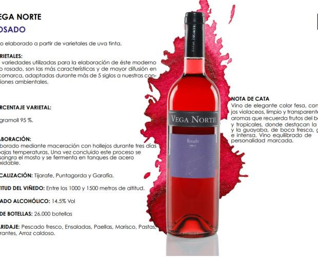 Vega Norte Rosado. Elaborado a partir de varietales de uva tinta