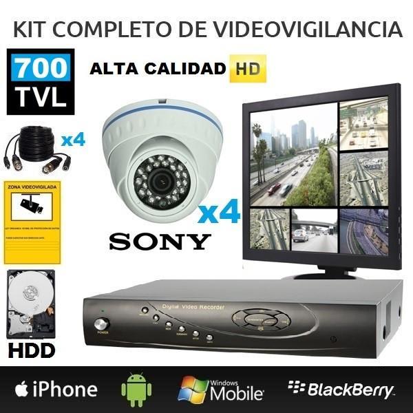 Cámaras y Accesorios.Equipo de videovigilancia de 4 cámaras.
