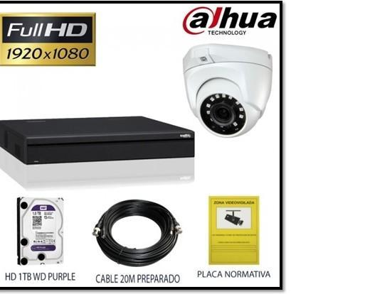 Sistemas de videovigilancia. Cámara, grabador 1tb, cable de alimentación y placa.