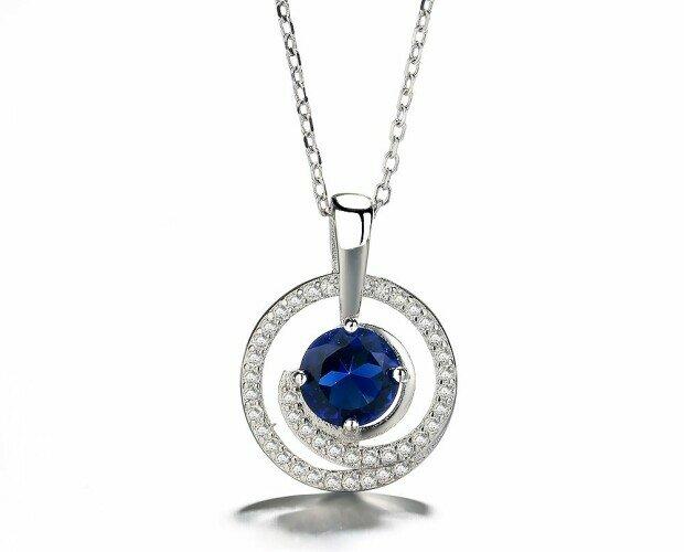Colgante Circular azul. Colgante: 14 mm de diámetro.