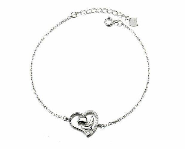 Pulsera Corazón con Flor. Ofrecemos joyas para todos los gustos
