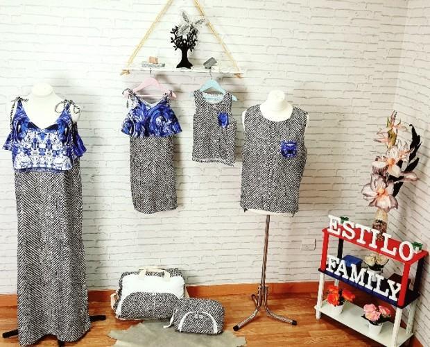 Conjuntos para familia. Pack de 4 Family en conjunto Vestidos Mama - Hija,  camisetas sin mangas Papa- hijo