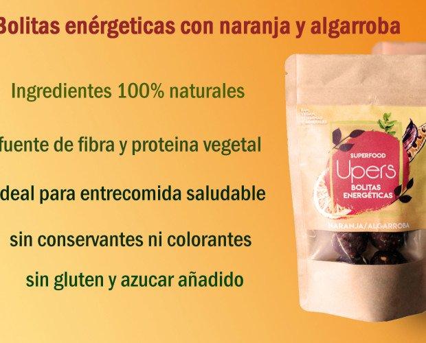 Bolitas energéticos. Sabor naranja/algarroba Ingredientes: dátil, coco, naranja algarroba, pasta de avellana.
