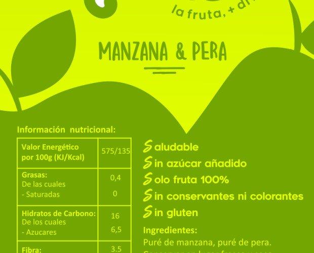 Etiqueta UPERS. Fruta mas divertida 100% natural Manzana sola manzana y pera