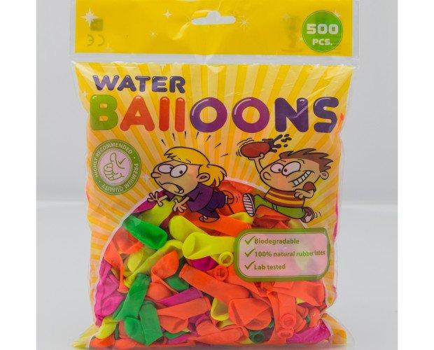 Globos de agua. Bolsa con 500 globos con colores surtidos