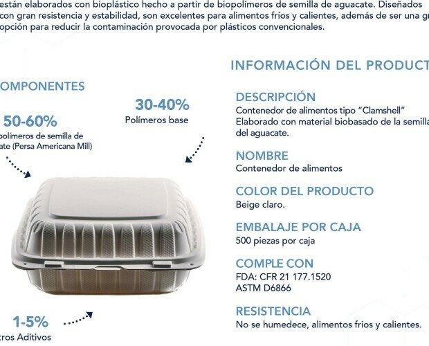 RECIPIENTE DE BIOPOLIMERO. Biodegradable, libre de PLA y BPA,. Resisten perfectamente las temperaturas frías y