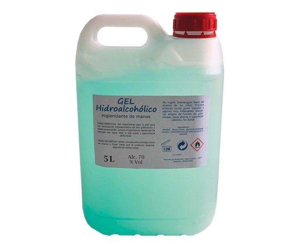 Garrafa de gel hidroalcohólico. Formato industrial