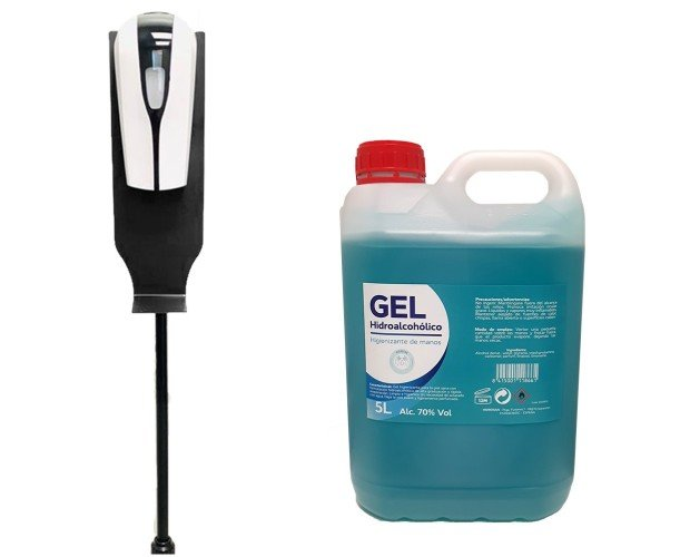 Gel hidroalcohólico con dispensador. Dispensador automático de gel hidroalcohólico con soporte.