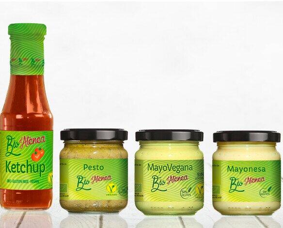 Salsas Veganas.Gama de salsas ecológicas Bio d'Atenea