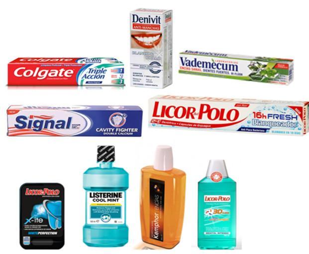 Productos para Higiene Bucodental.Precios desde 0.65 dentifricos a 2.85 enjuagues.