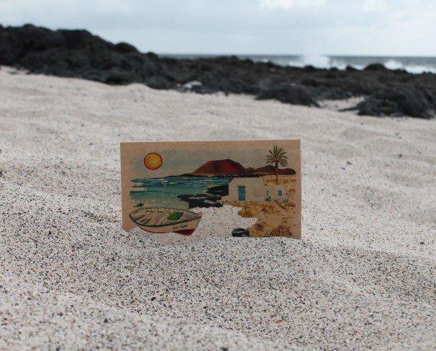 Postal con arena. 100% con materiales naturales