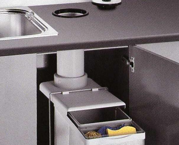 Equipamiento de Cocina.Contenedor orgánica gran capacidad 16 L más bandeja accesorios fregadero