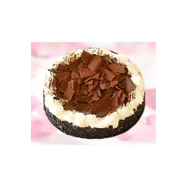 Selva. Tarta de bizcocho rellena de nata y trozos de chocolate
