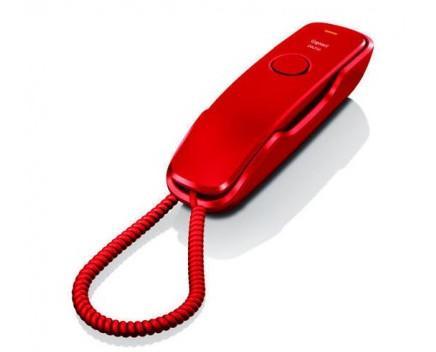 Teléfono fijo rojo. Ideal para llamadas básicas en casa o en la oficina