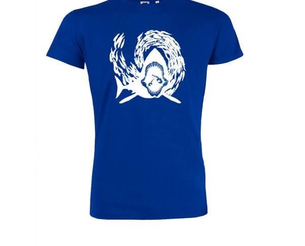 Camiseta azul klein Sharking. Estampado original