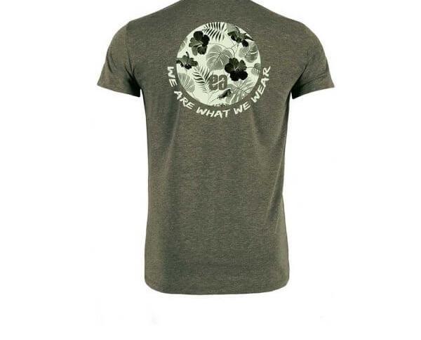 Camiseta caqui Flowerbone. Camiseta surfera de manga corta