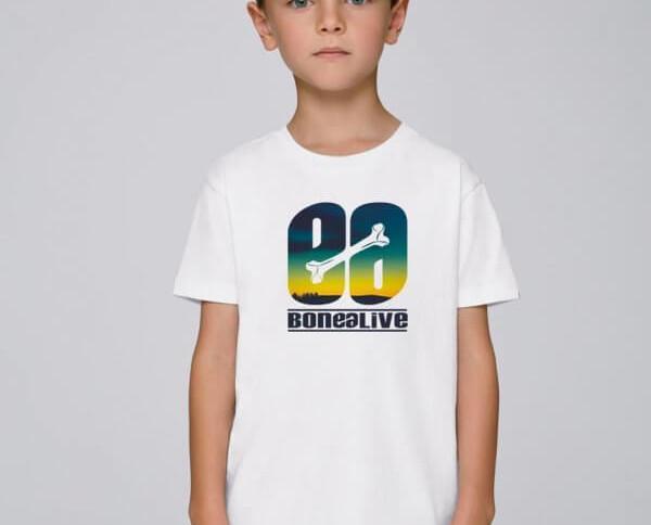 Camiseta blanca Sunshine. Camiseta blanca para niño con un bonito estampado de colores con nuestro logo